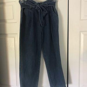 High rise denim tie jeans